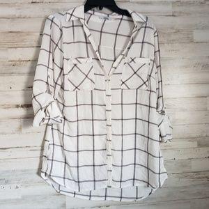 Plaid button down tunic blouse top M